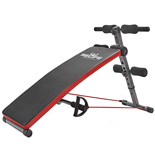 RELIFE REBUILD YOUR LIFE Sit Up Bench Gym Exercise Decline Adjustable Workout Bench Foldable Fitness Training Ab Crunch