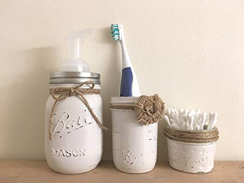 THREE PIECE SET Rustic Mason Jar Bathroom Storage, Mason Jar Organizer, Bath Accessories, Soap Pump