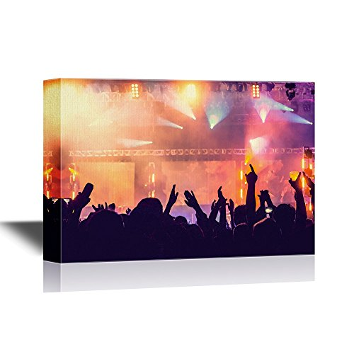 wall26 - Concert Crowd Canvas Wall Art - Cheering Crowd in Front of Bright Colorful Stage Lights - Retro Styled - Gallery Wrap Modern Home Decor | Ready to Hang -