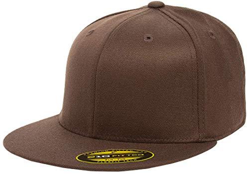 (Flexfit Premium 210 Fitted Ballcap | Flat Brim, Wool Blend, Baseball Cap w/Hat Liner (Large/X-Large) Brown)