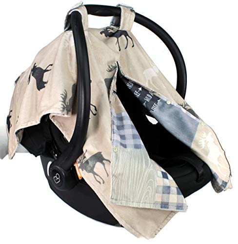 Dear Baby Gear Deluxe Reversible Car Seat Canopy, Custom Minky Print, Grey Wild and Free and Moose with Canoe