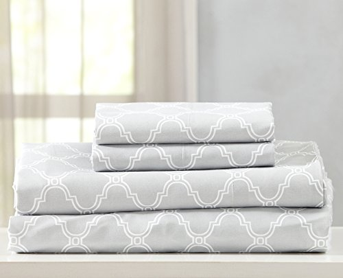 Printed Egyptian Quality Double Brushed Microfiber Sheet Set. Hypoallergenic, Wrinkle & Fade Resistant Bed Sheets with Geometric Pattern. Jasmine Collection By Great Bay Home Brand. (Full, Light Grey)
