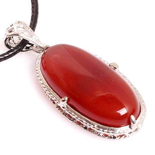(GEM-inside 17X45MM Oval Red Agate Gemstone Chakra Pendant Leather Necklace Fashion Jewelry for Women 18 Inches )