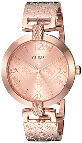- GUESS  Rose Gold-Tone Stainless Steel Logo Bracelet Bangle Watch with Self-Adjustable Links. Color: Rose Gold-Tone (Model: U1228L3)
