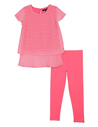 Nautica Toddler Girls' Two Piece Short Sleeve Legging Sets, Bright Pink Stripes, 3T