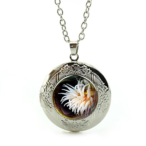 - SunShine Day Silver Necklace, White Sea Urchin Design Girls/Boys Chain Necklace with Pendant