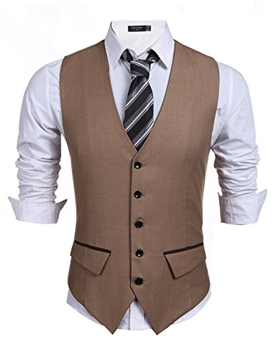 Coofandy Men's Casual Slim Fit Skinny Wedding Dress Vest (Khaki Apparel)