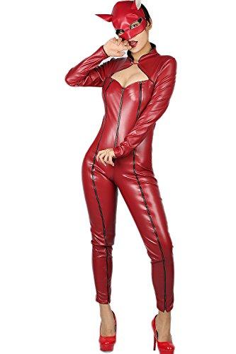 Anne Takamaki Costume Persona Cosplay Sexy Red PU Catsuit Bodysuit M XCOSER - Rise Kujikawa Cosplay Costume