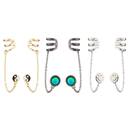 Color Mood Disc Emoji Happy Face Smile Yin Yang Peace Ear Cuff Multiple Earrings Set ()