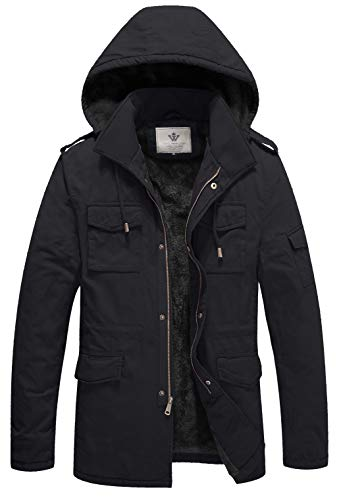 WenVen Men's Military Style Thicken Hooded Jacket (G-Grey,S) (Mens Military Style Winter Coat)