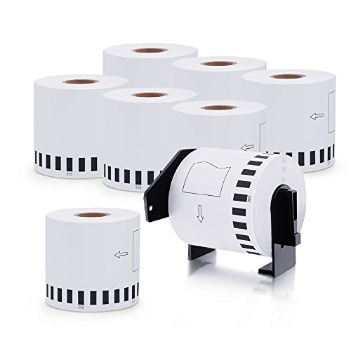 DK-2205 8 Rolls Brother-Compatible White Continuous Paper Labels 2.4in x 100ft with One Refillable Cartridge for QL 500 550 570 700 710W RQL710W 720NW 800 810W 1060N Printer etc.