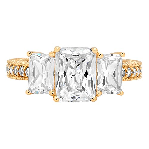 - Clara Pucci 4.36 ct Accent Three Stone Emerald Brilliant Cut CZ Designer Band Ring in 14K Yellow Gold