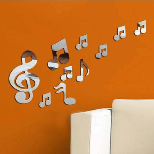 Alrens(TM) 10pcs Romantic Music Notes Pattern Acrylic Mirror Wall Sticker 3D DIY Home Decoration Living Room Bedroom Dancing Room Fashion Decor Decals Art