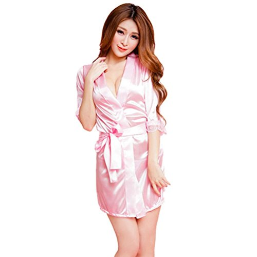 Bathrobe,BeautyVan Fashion Design 2017 Hot Fashion Classic Pure Role-playing Sexy Lingerie Wild Temptation Bathrobe (Pink)