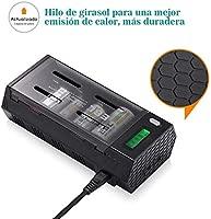 EBL 908 Cargador de Pilas para AA AAA CD 9V Ni-MH Ni-CD Pilas Recargables con 2 Puertos de USB, Pantalla LCD Inteligente y Función de Descarga