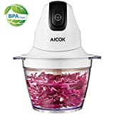 Aicok Food Chopper Small Food Processor 3 Cup Mini Onion Vegetable Garlic Chopper Electric 4 bi-level blades 1.2L Robust BPA-Free Bowl