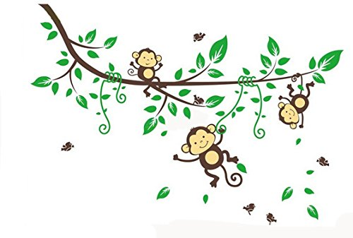 Naughty Monkeys Hanging on Tree Vines Wall Decal for Baby Nursery