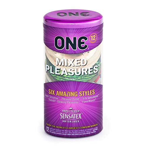 ONE Mixed Pleasures Five Premium Styles Lubricated Latex Condoms with Pocket/Travel Case-12 Count (Brass Case)