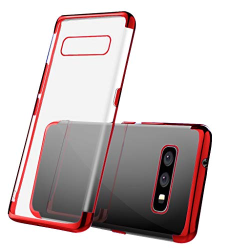 Galaxy S10E 10E Phone Case Clear for Samsung S10E Galaxys10E Galalxy10E Protective Cover,Premium Flexible Red Chrome Bumper,Ultra Soft Slim Thin Transparent Design for Women Girls,Anti-Shock/Scratch