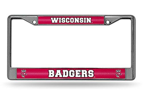 NCAA Wisconsin Badgers Bling Chrome License Plate Frame, 12