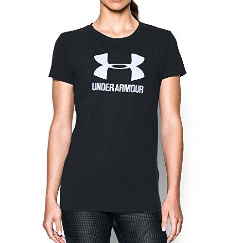 Under Armour Women's Sportstyle Crew, Black/White, Large