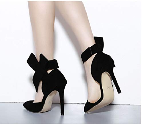 Colore Heel Strap Nero Rosso Women Qiusa Loop Hook Pumps EU Bowknot 41 High Shoes Dimensione nx0wzCp