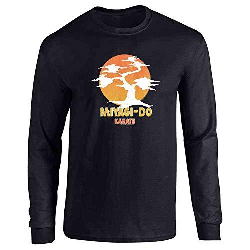 Karate Kid Miyagi-Do Dojo Bonsai Sunset Costume Black L Long Sleeve T-Shirt
