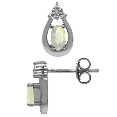 Genuine Opal & White Topaz Gold Plated 925 Sterling Silver Drop Stud/Post Earrings ()