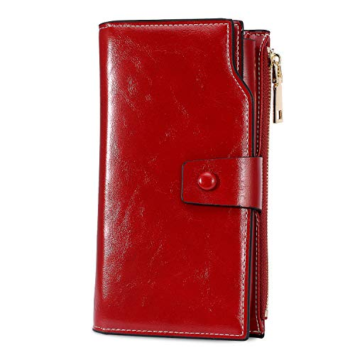 WOZEAH Women's RFID Blocking Large Capacity Luxury Wax PU Leather Clutch Wallet Card Holder Organizer Ladies Purse (red) (Beautiful Wallet)