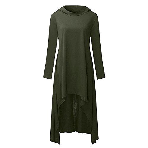 Maglietta Plus Pullover Tops Cappotto Con Lunga Giacca Verde camicetta della Size VICGREY Cappotti Autunno Top Cappuccio Hoodies Irregolare Manica Maglione Donna Felpa Felpa vqH0wzRT