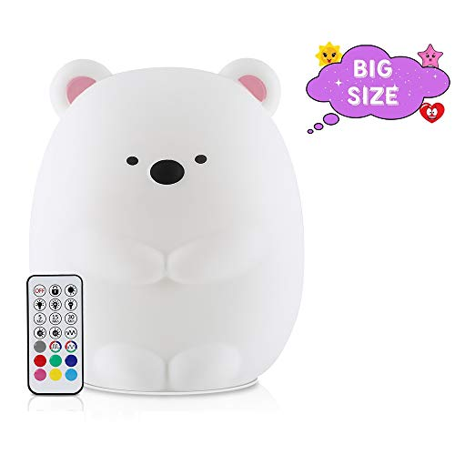 HeeJo LED Nursery Night Light for Kids: Girl Boy Baby Gifts, Remote Control Silicone Baby Night Light with Touch Sensor - Portable and Rechargeable Color Changing Lamps for Bedrooms (Cute Bear)