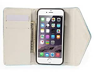 Straw Mat Leather Wallet Case Cover with Diamante Love for iPhone 6 - Blue