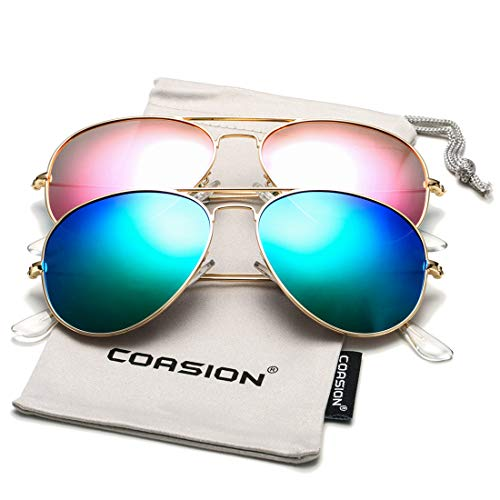 COASION Classic Polarized Aviator Sunglasses for Men Women Mirrored UV400 Protection Lens Metal Frame (Gold/Rosepink Mirror + Gold/Green ()