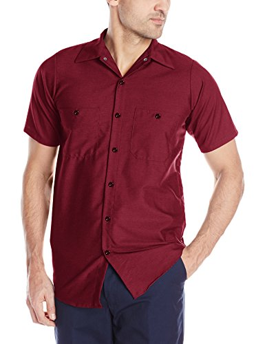 rial Work Shirt, Regular Fit, Short Sleeve, Burgundy, 4X-Large ()