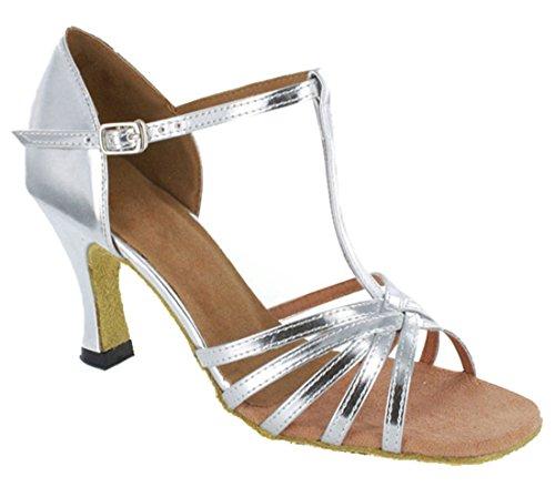 Salsa Modern Womens Leather T Shoes Silver TDA Dance Wedding Tango strap Latin Stylish PU Ballroom wYRnqTg