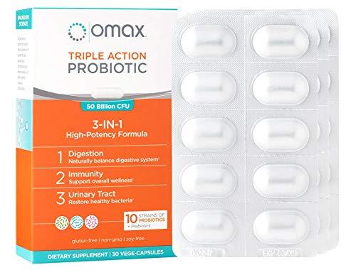Probiotic Prebiotic Inulin Chicory Root Fiber Supplement by Omax® Synbiotic Vegan, Non-Dairy, 50 Billion CFU 10 Strains, Lactobacillus Acidophilus, Blister Packed, Prebiotic Probiotic - 30 ()