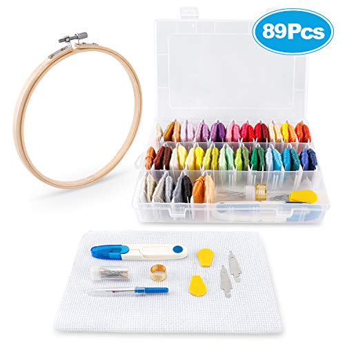 89Pcs Cross Stitch Supplies Kits Including Embroidery Hoops 50 Colors Embroidery Floss 39Pcs Embroidery Starter Kit for Friendship Bracelet String Making