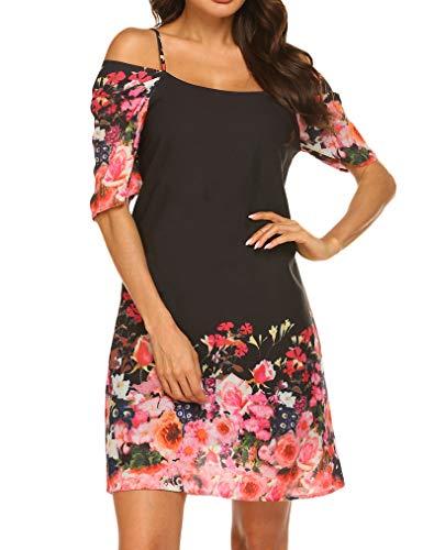 Naggoo Women's Summer Chiffon Floral Printed Cold Shoulder Loose Short Dress Black Flower-3 S