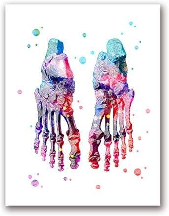 Wwjwf Quadro su Tela Stampato Immagine Modulare Muscoli Umani Nordico Poster Scheletro Anatomia Pittura Ad Acquerello Corpo Decorazione Murale Medica 60X80Cm Senza Cornice