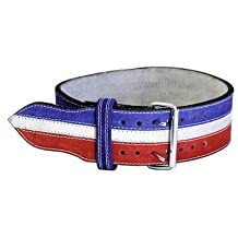 "Ader Leather Power Weight Lifting Belt- 4"" Red/ White/ Blue (Small)"