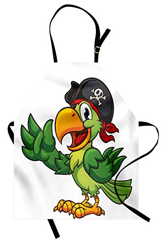 Lunarable Pirate Apron, Cartoon Parrot with Pirate Hat Eye Patch Waving Hand Gesture Cute Funny Character, Unisex Kitchen Bib Apron with Adjustable Neck for Cooking Baking Gardening, -