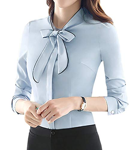 JHVYF Women's Chiffon Bow Tie Long Sleeve Blouse Formal Work Button Down Shirt Blue US 0(Tag M)