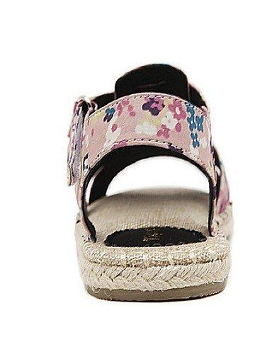 Femmes Plat Rose Rose Bout Pour Ouvert Sandales Tissu Talon Shangyi À Noir Casual Chaussures Hwq1xA5p