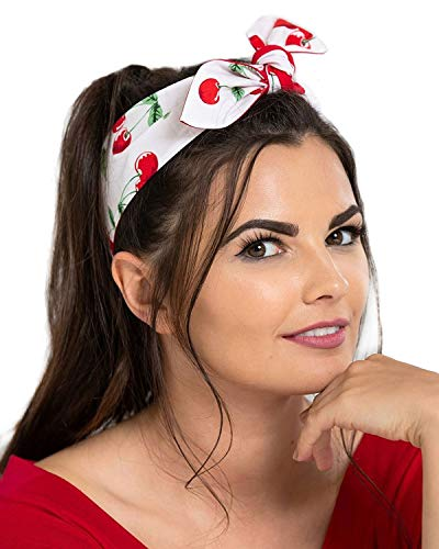 Hell Bunny Women's Sweetie Cherry Print Retro Pinup Reversible Hair Tie Headband (White)