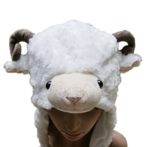 Goat Hat (TopTie Ladies Animal Hat, Soft Fleece Lined Hat - Sheep Antelope Beauty Hat WHITESHEEP)
