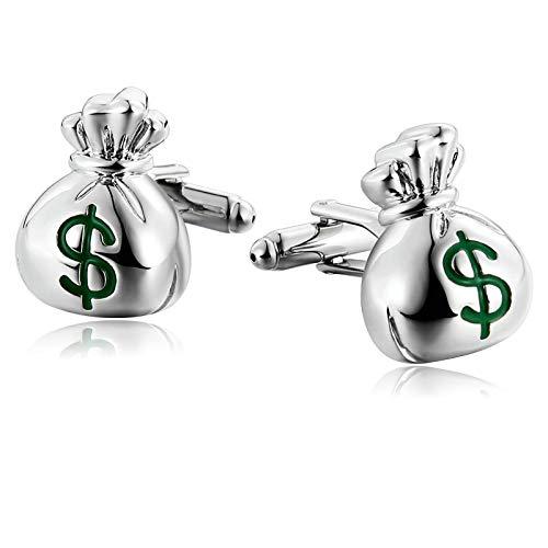 Aooaz Jewelry Cufflinks for Men Purse Shape Wedding Cufflinks Silver Green