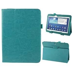 Crazy Horse Texture Leather Funda Case Cover + Lápiz GRATIS con Holder para Samsung Galaxy Tab 3(10.1)/GT-P5200(Turquoise)