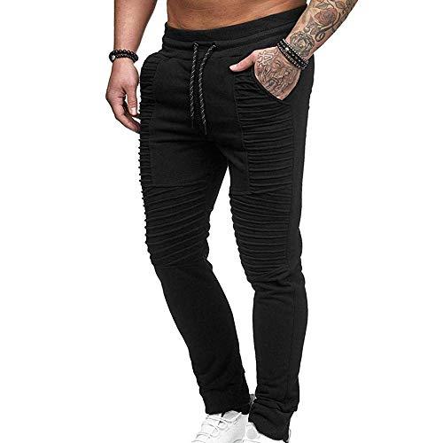 Hellomiko Pantalones de Moto arrugados para Hombre Lavados con Agua Aprieta pies Pantalones de Jeans con Elasticidad Pierna Recta Delgada Raya Recta Plisada Negro
