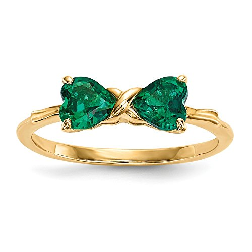 (14k Yellow Gold Created Green Emerald Bow Band Ring Size 7.00 Set Birthstone May Fine Jewelry Gifts For Women For Her)
