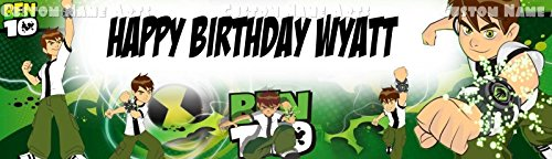 Personalized Cartoon Network Ben Ten Banner Birthday Poster Custom Name Painting Wall Art Decor